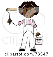 Royalty Free RF Clipart Illustration Of A Friendly Hispanic Painter Stick Girl With A Roller Brush