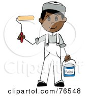 Royalty Free RF Clipart Illustration Of A Friendly Hispanic Painter Stick Boy With A Roller Brush