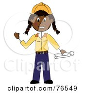 Royalty Free RF Clipart Illustration Of A Friendly Black Stick Woman Construction Worker