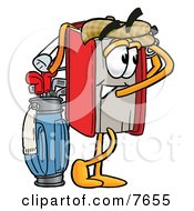 Clipart Picture Of A Red Book Mascot Cartoon Character Swinging His Golf Club While Golfing