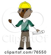Royalty Free RF Clipart Illustration Of A Friendly Black Stick Man Construction Worker