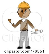 Royalty Free RF Clipart Illustration Of A Friendly Hispanic Stick Man Construction Worker