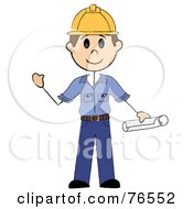 Royalty Free RF Clipart Illustration Of A Friendly Brunette Caucasian Stick Man Construction Worker