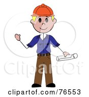 Royalty Free RF Clipart Illustration Of A Friendly Blond Caucasian Stick Man Construction Worker