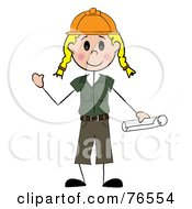 Royalty Free RF Clipart Illustration Of A Friendly Blond Caucasian Stick Woman Construction Worker