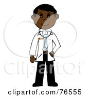 Royalty Free RF Clipart Illustration Of A Friendly Black Stick Man Doctor by Pams Clipart