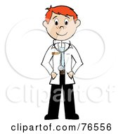 Royalty Free RF Clipart Illustration Of A Friendly Redhead Caucasian Stick Man Doctor by Pams Clipart