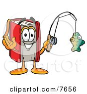 Clipart Picture Of A Red Book Mascot Cartoon Character Holding A Fish On A Fishing Pole