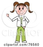 Royalty Free RF Clipart Illustration Of A Friendly Brunette Caucasian Stick Doctor Or Nurse Woman