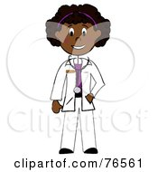 Royalty Free RF Clipart Illustration Of A Friendly Black Stick Woman Doctor by Pams Clipart