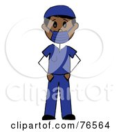 Royalty Free RF Clipart Illustration Of A Hispanic Stick Man Surgeon In Blue Scrubs by Pams Clipart
