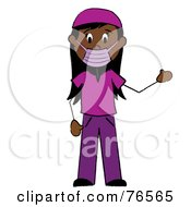 Royalty Free RF Clipart Illustration Of A Hispanic Stick Woman Surgeon In Purple Scrubs by Pams Clipart