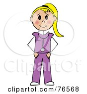 Royalty Free RF Clipart Illustration Of A Friendly Blond Caucasian Stick Doctor Or Nurse Woman by Pams Clipart