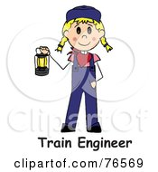 Royalty Free RF Clip Art Illustration Of Words Below A Caucasian Train Engineer Stick Woman Carrying A Lantern by Pams Clipart