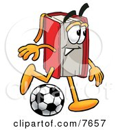 Clipart Picture Of A Red Book Mascot Cartoon Character Kicking A Soccer Ball