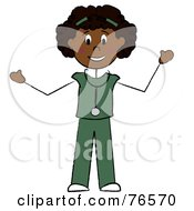 Royalty Free RF Clipart Illustration Of A Friendly Black Stick Doctor Or Nurse Woman by Pams Clipart