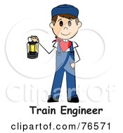 Royalty Free RF Clipart Illustration Of Words Below A Caucasian Train Engineer Stick Man Carrying A Lantern by Pams Clipart