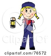 Royalty Free RF Clipart Illustration Of A Caucasian Train Engineer Stick Woman Carrying A Lantern