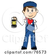 Royalty Free RF Clipart Illustration Of A Caucasian Train Engineer Stick Man Carrying A Lantern