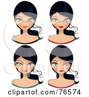 Royalty Free RF Clipart Illustration Of A Digital Collage Of Black Haired Female Faces