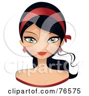 Royalty Free RF Clipart Illustration Of A Beautiful Black Haired Woman Wearing A Red Headband by Melisende Vector