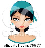 Royalty Free RF Clipart Illustration Of A Beautiful Black Haired Woman Wearing A Turquoise Headband by Melisende Vector