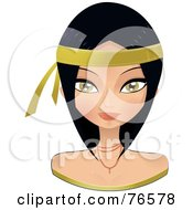 Royalty Free RF Clipart Illustration Of A Beautiful Black Haired Woman Wearing A Gold Headband by Melisende Vector