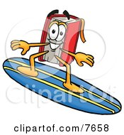 Clipart Picture Of A Red Book Mascot Cartoon Character Surfing On A Blue And Yellow Surfboard