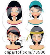 Royalty Free RF Clipart Illustration Of A Digital Collage Of Black Haired Women Wearing Head Bands