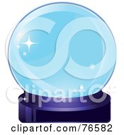 Royalty Free RF Clipart Illustration Of A Sparkling Blue Crystal Ball On A Purple Base by Melisende Vector