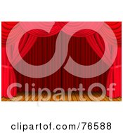 Royalty Free RF Clipart Illustration Of A Luxurious Red Curtains Framing A Deserted Wood Stage