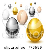 Royalty Free RF Clipart Illustration Of A Group Of Gold Chrome Brown And White Chicken Eggs