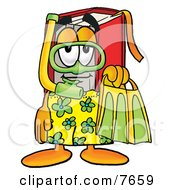 Clipart Picture Of A Red Book Mascot Cartoon Character In Green And Yellow Snorkel Gear
