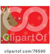 Royalty Free RF Clipart Illustration Of A Red Snowflake Background With Rudolph To The Left by Maria Bell
