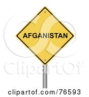 Royalty Free RF Clipart Illustration Of A Yellow Afganistan Warning Sign