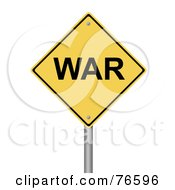 Royalty Free RF Clipart Illustration Of A Yellow War Warning Sign by oboy