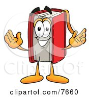 Clipart Picture Of A Red Book Mascot Cartoon Character With Welcoming Open Arms