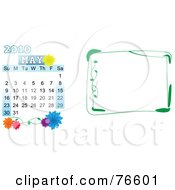 Royalty Free RF Clipart Illustration Of A Digital Collage Of A May 2010 Calendar And A Green Border by mheld