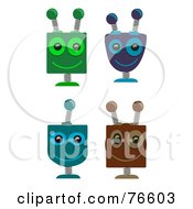 Royalty-Free (RF) Clipart Illustration of a Digital Collage Of Four Springy Robot Heads by mheld #COLLC76603-0107