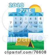 Royalty Free RF Clipart Illustration Of A 2010 June Calendar With A Tent by mheld