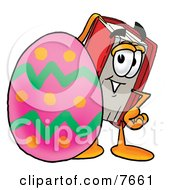 Clipart Picture Of A Red Book Mascot Cartoon Character Standing Beside An Easter Egg