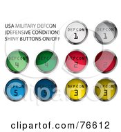 Royalty Free RF Clipart Illustration Of A Digital Collage Of Chrome And Colorful Round DEFCON Buttons