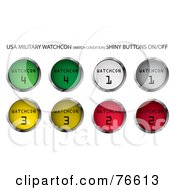 Royalty Free RF Clipart Illustration Of A Digital Collage Of Round Colorful Military Watchcon Buttons