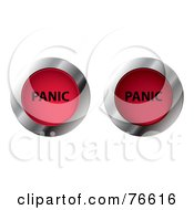 Royalty Free RF Clipart Illustration Of A Digital Collage Of Chrome And Red Round On And Off PANIC Buttons
