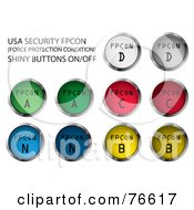 Royalty Free RF Clipart Illustration Of A Digital Collage Of Chrome And Colorful Round Usa Security FPCON Buttons