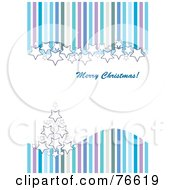Royalty Free RF Clipart Illustration Of A Merry Christmas Greeting With Blue Purple And Green Stripes Stars And A Christmas Tree by MilsiArt