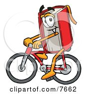 Clipart Picture Of A Red Book Mascot Cartoon Character Riding A Bicycle