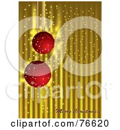 Royalty Free RF Clipart Illustration Of A Merry Christmas Greeting With Red Sparkly Ornaments On Gold by MilsiArt