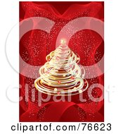 Royalty Free RF Clipart Illustration Of A Golden Christmas Tree Over A Red Background With Confetti by MilsiArt