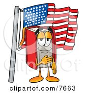 Clipart Picture Of A Red Book Mascot Cartoon Character Pledging Allegiance To An American Flag